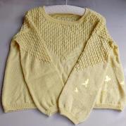 飄香  寒露編織女士棒針育克鏤空長袖套頭毛衣