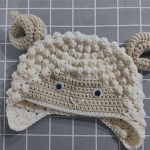公益编织有趣可爱儿童钩针卷卷羊护耳帽
