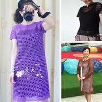 泡泡糖 经典女士钩针短开衫改版长开衫、套衫与连衣裙