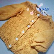 穗黄 儿童棒针插肩灯笼袖开衫毛衣