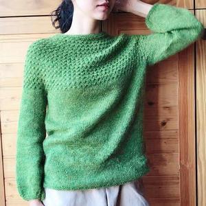 果绿水草花从上往下织女士棒针圆肩毛衣(附详细编织过程)