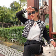 超大牌时尚短款小洋装 女士棒针提花开衫外套毛衣