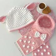 冬日兩件套 兒童鉤針小羊帽子圍脖套裝圖解