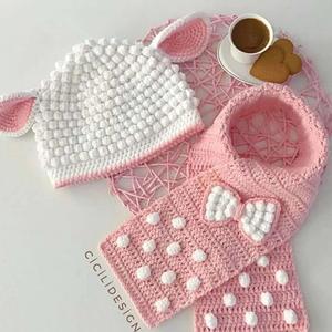 冬日两件套 儿童钩针小羊帽子围脖套装图解