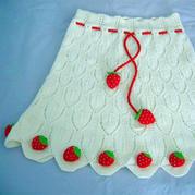 儿童棒针草莓装饰叶子花披肩斗篷