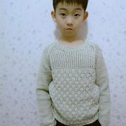 毛線球款改版兒童阿富汗鉤針插肩套頭毛衣
