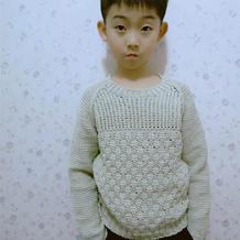 毛线球款改版儿童阿富汗钩针插肩套头毛衣