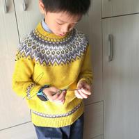木兰花 儿童棒针圆肩提花毛衣