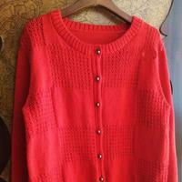 喵夫人家小雪女士棒针红色圆领开衫
