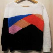 雪妃尔南非幼马海编织女士棒针拼色显瘦马海毛衣