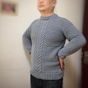 Promise诺言 男士棒针小圆领羊毛衫