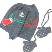 提花鉤花點綴圣誕元素兒童棒針開衫毛衣