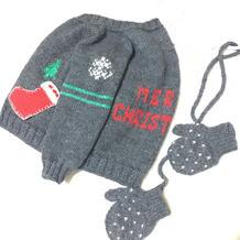 提花钩花点缀圣诞元素儿童棒针开衫毛衣