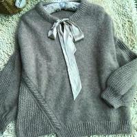 多米诺  减龄飘带领女士棒针套头毛衣