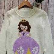 小雪编织儿童棒针苏菲亚公主图案套头毛衣
