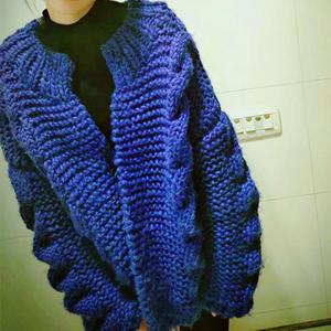oversize風格粗針 織女士棒針麻花毛衣開衫