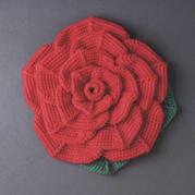 綻放的薔薇玫瑰鉤針座墊編織圖解