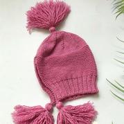 风雪帽  儿童棒针流苏护耳帽