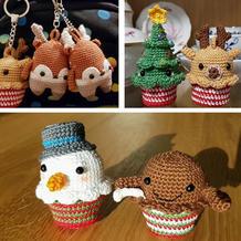 圣诞麦芬五人组 用时短效果好迷你钩针玩偶编织图解