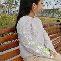 思叶 杂志款女士毛衣改版儿童棒针叶子花套头毛衣