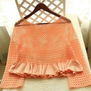 粉橙 木耳邊女士鉤織結合套衫