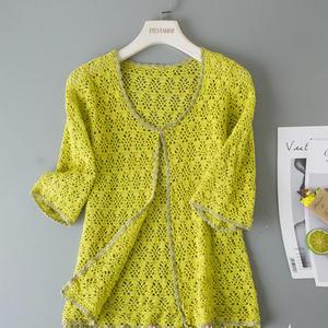 綠縷 云帛編織經典女士鉤針開衫