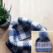 冬日提花小物 經典棒針提花帽子與圍脖