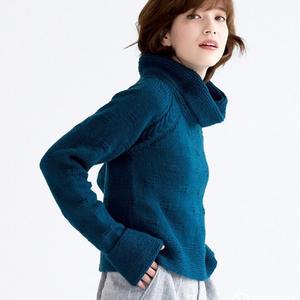 藍鉆 喵夫人霜降仿樂天款女士棒針高領毛衣