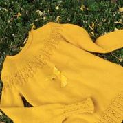 郁金香 机织结合多娜女士镂空圆肩套头毛衣