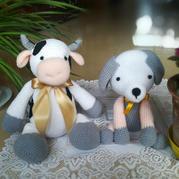 娃娃家毛線編織鉤針小狗與大奶牛玩偶