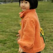 粗針織韓版女童棒針向日葵花朵開衫