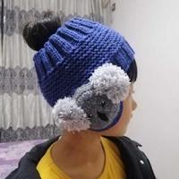 树袋熊帽 适合束马尾扎丸子头戴的儿童棒针发带型帽子