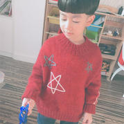 星夢 云駝兒童棒針星星圖案套頭毛衣