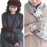 秋冬温暖小物编织 女士无指手套围巾帽子编织图解