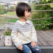 秋颜(3-1)儿童棒针育克圆肩套头毛衣编织视频