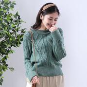 翠薇 美麗諾羊毛女士棒針圓領套頭衫