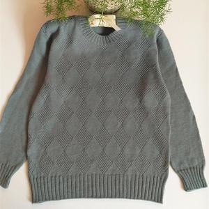 青绮 男款棒针圆领套头毛衣