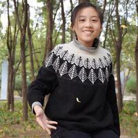霜林晚 女孩棒针圆肩提花毛衣