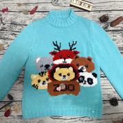 兒童棒針動物園卡通毛衣