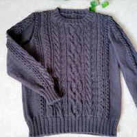 枝桠 京都羊毛线男士棒针绞花圆领套头毛衣
