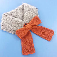 儿童钩针蝴蝶结系带围脖与帽子