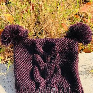 羊毛线编织猫头鹰造型儿童棒针帽子