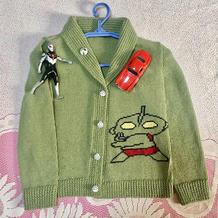 奥特曼图案儿童棒针青果领开衫