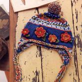 經典文藝彩色毛線兒童棒針提花護耳帽