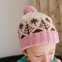 2-5岁小树图案儿童棒针提花帽子