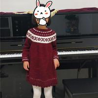 宠爱 云绒叁柒儿童棒针北欧风圆肩提花连衣裙
