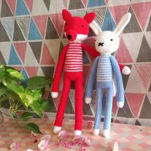 毛线编织玩偶之钩针长腿狐狸和小兔