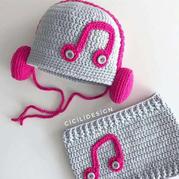 冬日系列兒童鉤針音符護耳帽及圍脖