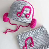 冬日系列儿童钩针音符护耳帽及围脖