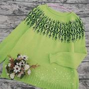 綠葉 喵夫人霜降女士棒針葉子提花套頭毛衣